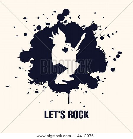 Silhouette of guitarist playing the guitar solo on black background vector illustration