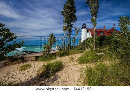The Point Betsie Lighthouse on the Lake Michigan coast. The lighthouse is owned by Benzie County and is not a privately owned property.