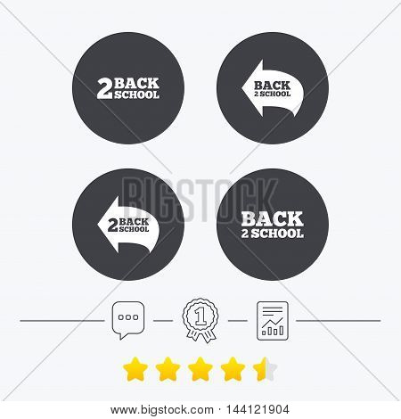 Back to school icons. Studies after the holidays signs symbols. Chat, award medal and report linear icons. Star vote ranking. Vector