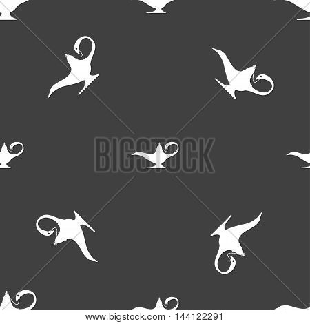 Alladin Lamp Genie Sign. Seamless Pattern On A Gray Background. Vector