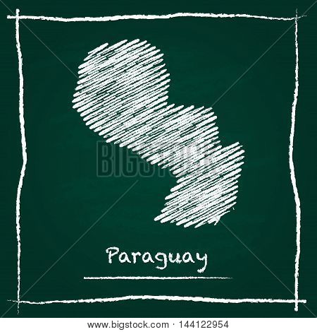 Paraguay Outline Vector Map Hand Drawn With Chalk On A Green Blackboard. Chalkboard Scribble In Chil