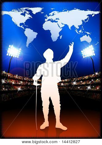 Fencing with World Map on Stadium Background Original Illustration