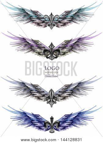 Collection, set of logos, symbols in the form of wings and heraldic lilies, hand drawn isolated in a watercolor on a white background