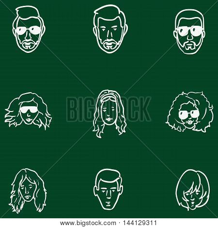 Vector Set Of Chalk Doodle Hairstyles Icons.