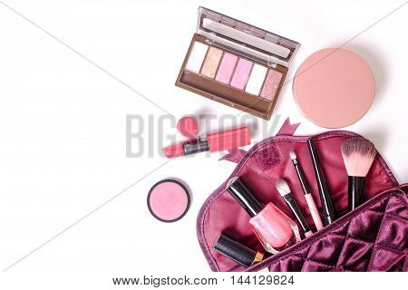 Make Up Bag With Cosmetics Make Up