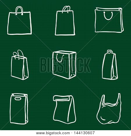 Vector Set of Chalk Doodle Shopping Bags Icons
