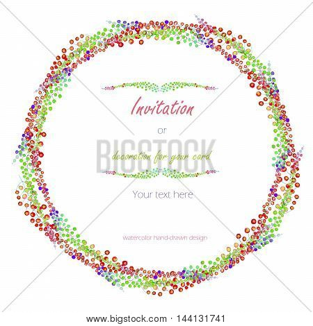 Circle frame, wreath with the floral design; watercolor abstract variegated mimosa flowers and leaves, hand-drawn in a watercolor;  decoration for a wedding, greeting card on a white background