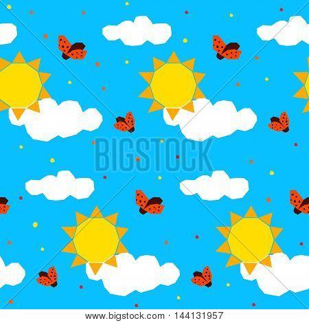 Abstract Childish Geometric Seamless Pattern Background.