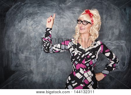 Retro Teacher Showing On Something By Finger