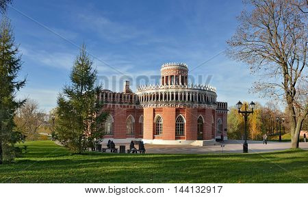 "Moscow, Russia - October 13, 2013: The building of the Third Cavalry Corps (1776-1779) in the park ""Tsaritsyno"". Park Tsaritsyno - state historical-architectural art and landscape reserve museum, which is located in the south of Moscow and includes the pa"