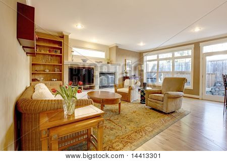 Large Living Room With Warm Gold Colors
