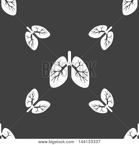 Lungs Sign. Seamless Pattern On A Gray Background. Vector