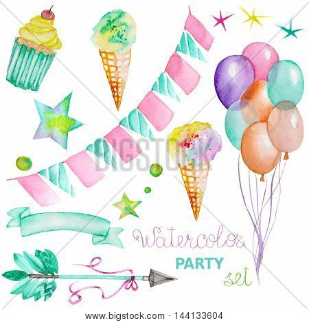 Watercolor party set in the form of isolated elements: garland of the flags, ice-cream, air balloons, arrow, ribbon and stars. Painted on a white background.