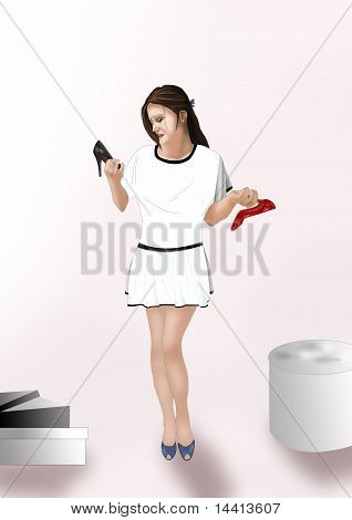 woman choosing shoes