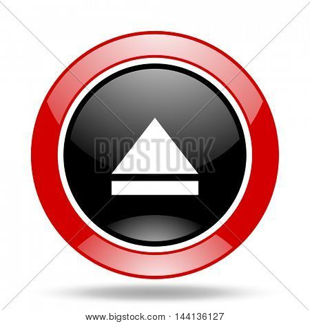 eject round glossy red and black web icon