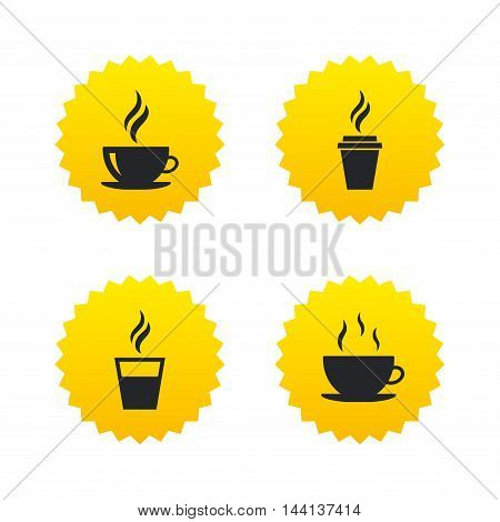 Coffee cup icon. Hot drinks glasses symbols. Take away or take-out tea beverage signs. Yellow stars labels with flat icons. Vector