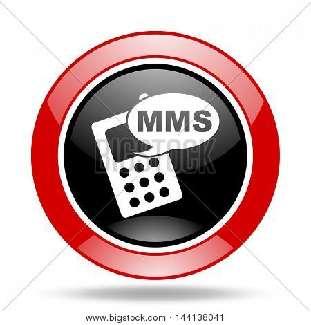 mms round glossy red and black web icon