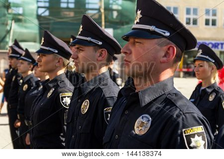 Uzhgorod Ukraine - August 25. 2016: Policemans during the ceremony of awarding titles to inspectors of police officers.