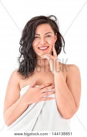 Beautiful Young Asian Woman In White Towel