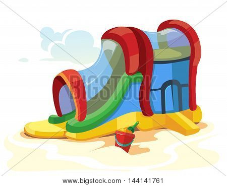 Vector illustration of inflatable slides on children playground. Picture isolate on white background