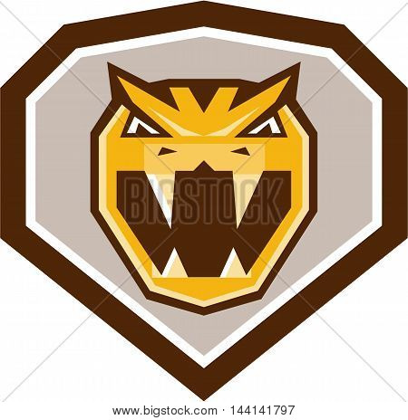 Illustration of head of an angry horned viper North African desert viper or cerastes viper baring its fangs viewed from the front set inside shield crest done in retro style.