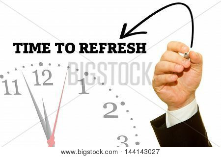 Businessman hand writing TIME TO REFRESH message on a transparent wipe board.