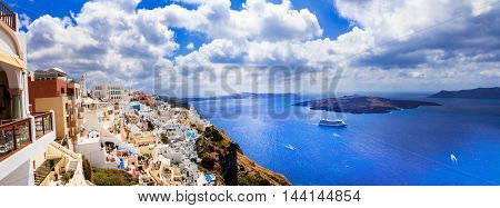 unique impressive Santorini, view with volcano. Greece