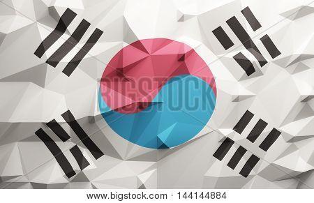 Low poly illustrated Korean flag. 3d rendering.
