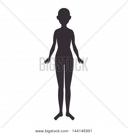 woman standing body silhouette female gender nude vector illustration