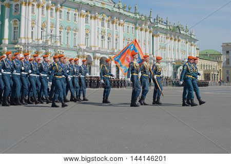 ST. PETERSBURG, RUSSIA - MAY 05, 2015: Kadets of the Institute of EMERCOM in the ranks on parade rehearsal in honor of Victory Day