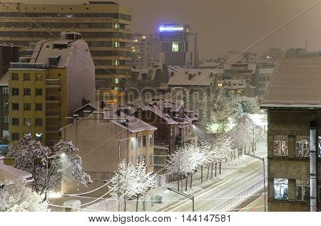 Sofia Bulgaria winter snow sityscape