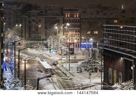Sofia, Vazrajdane square tram winter snow
