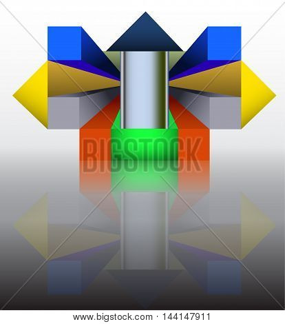 Abstract construction template of geometrical spacial objects reminiscent of modern architecture. Abstract modern futuristic 3d objects