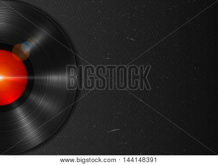 Realistic long-playing LP vinyl record with red label. Vintage vinyl gramophone record on dark grunge backdrop. Retro music poster, place for text. Illustration for banner, flyer, billboard concerts