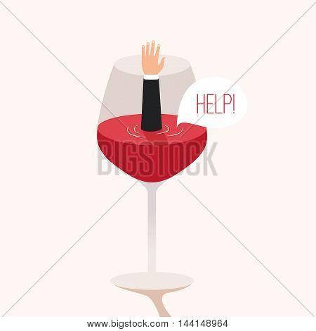 Man drowned in wine. Cartoon vector illustration. Metaphor. Man asks for help