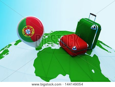 Low poly illustrated travel concept. 3d rendering. Travel to Portugal. Luggages and Portuguese flag pin on globe.