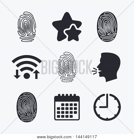 Fingerprint icons. Identification or authentication symbols. Biometric human dabs signs. Wifi internet, favorite stars, calendar and clock. Talking head. Vector
