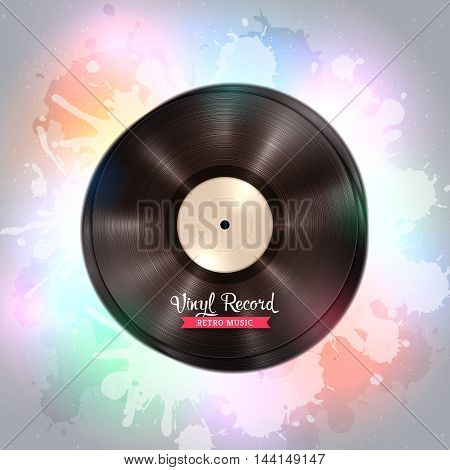 Realistic long-playing LP vinyl record. Vintage vinyl gramophone record, backdrop with disco lights. Disco, party, club, dance, music poster. Illustration for banner, flyer, billboard concerts