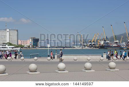RUSSIA, NOVOROSSIYSK - MAY 9, 2014:Views of Novorossiysk commercial sea port