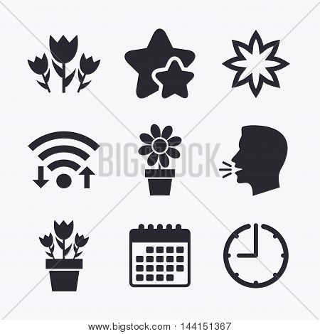 Flowers icons. Bouquet of roses symbol. Flower with petals and leaves in a pot. Wifi internet, favorite stars, calendar and clock. Talking head. Vector