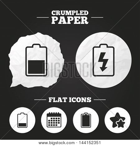Crumpled paper speech bubble. Battery charging icons. Electricity signs symbols. Charge levels: full, half and low. Paper button. Vector