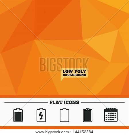 Triangular low poly orange background. Battery charging icons. Electricity signs symbols. Charge levels: full, empty. Calendar flat icon. Vector