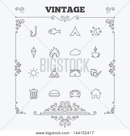 Camping and fishing icons. Tourist tent, fire and match symbols. Coffee cup and hamburger. Car and house. Fish, hook and float bobber thin outline signs. Vintage ornament patterns. Decoration design elements. Vector