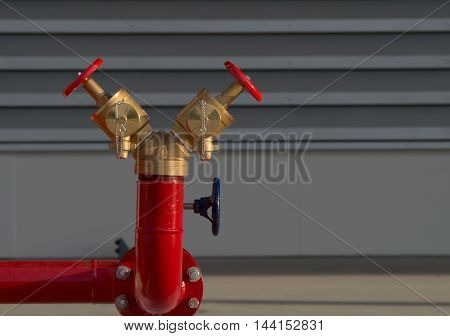 Red fire hydrant in in area building