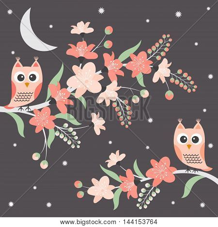 Vector night owls with floral branches on dark star background