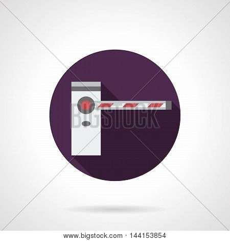 Classic closed road barrier with striped bar. Security mechanical and automatic equipment for traffic control. Purple round flat design vector icon.