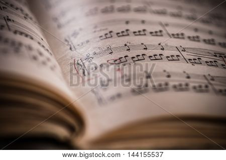 Close Up Of Piano Classic Music Score And Notes