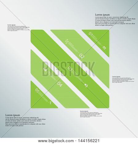 Square Illustration Template Consists Of Five Green Parts On Light-blue Background