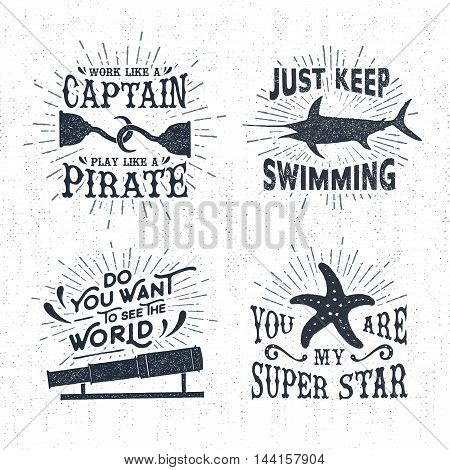 Hand drawn textured vintage labels set with hooks swordfish starfish vector illustrations and inspirational lettering.
