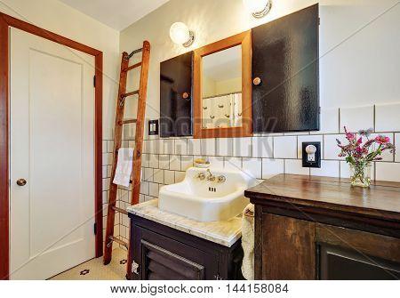 Old Style Bathroom Interior With Vintage Washbasin